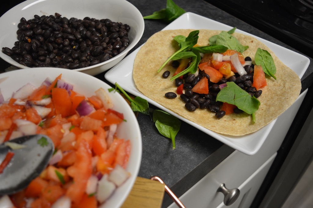 Simple Black Bean Wraps w/ Salsa